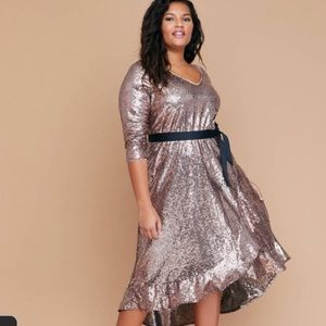 Rose Gold Sequin Fit & Flare Faux-Wrap Dress NWT